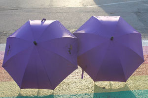Two women behind purple umbrellas being sheltered from domestic violence from VLMFSS